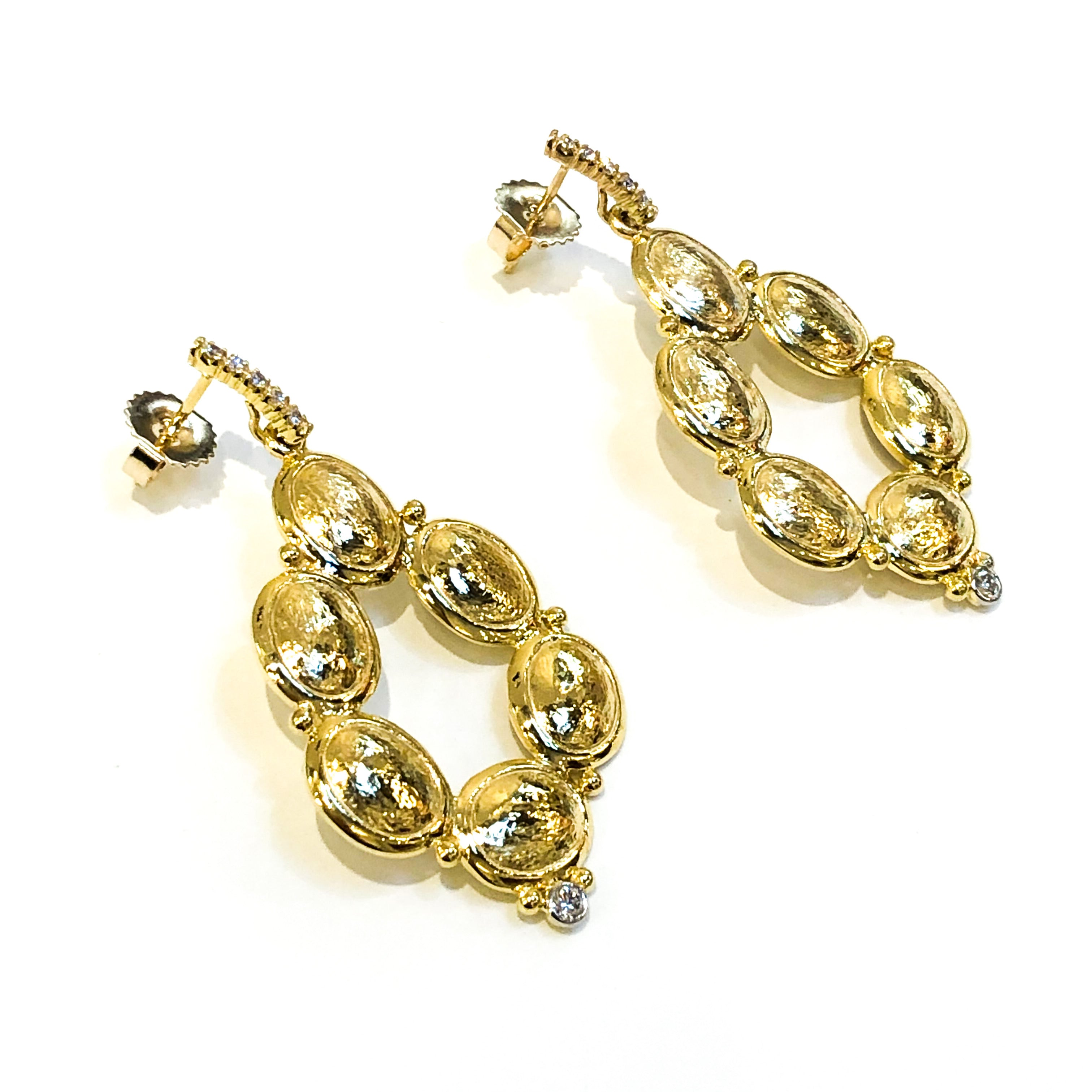Yellow Gold Drop Earrings with Hammered Finish and Diamonds