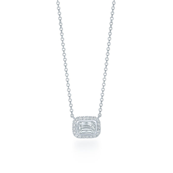 18k White Gold and Ashoka Cut Diamond Pendant