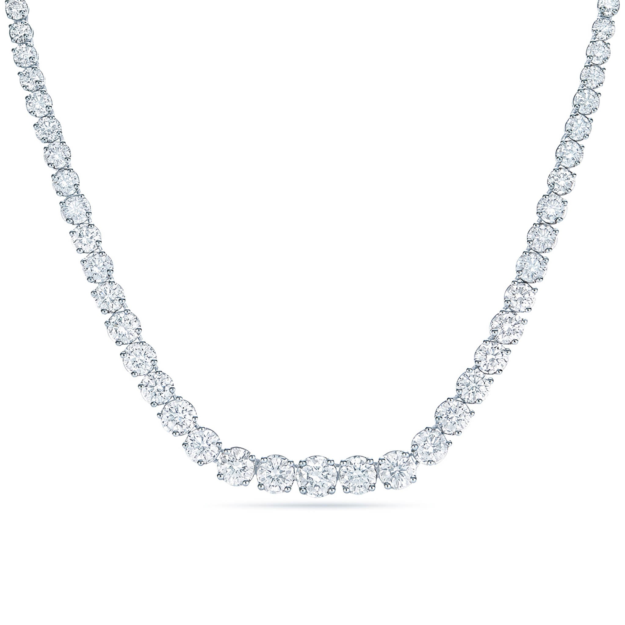18k White Gold and Diamond Partial Riviera Necklace