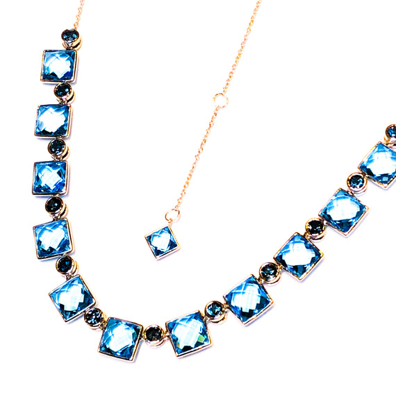 White Gold and Blue Topaz Necklace