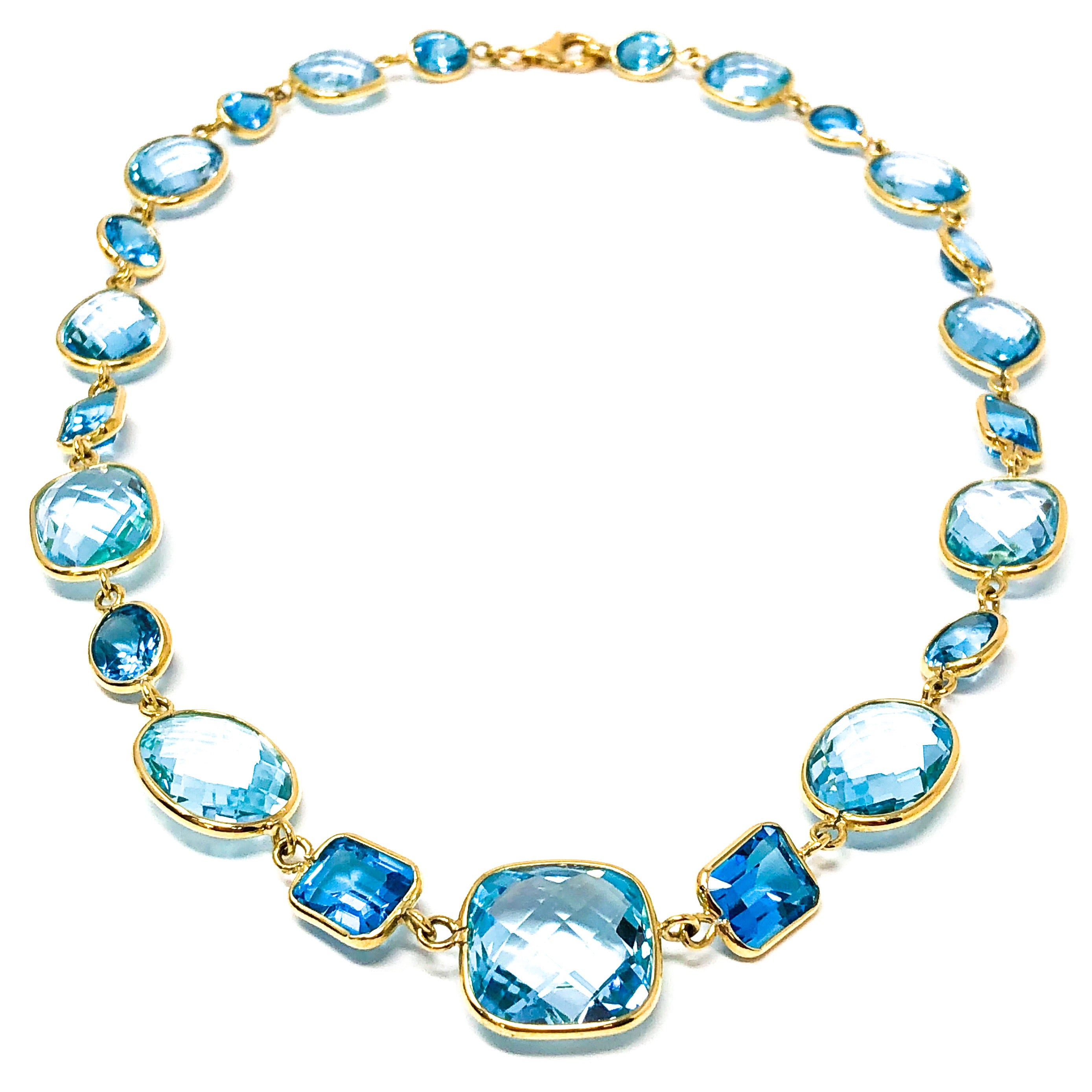 18kt Gold Blue Topaz Necklace