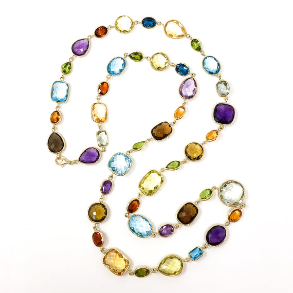 18kt Gold Multi-Gemstone Necklace