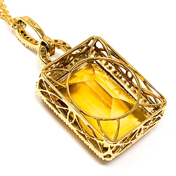 18kt Gold Citrine and Diamond Pendant