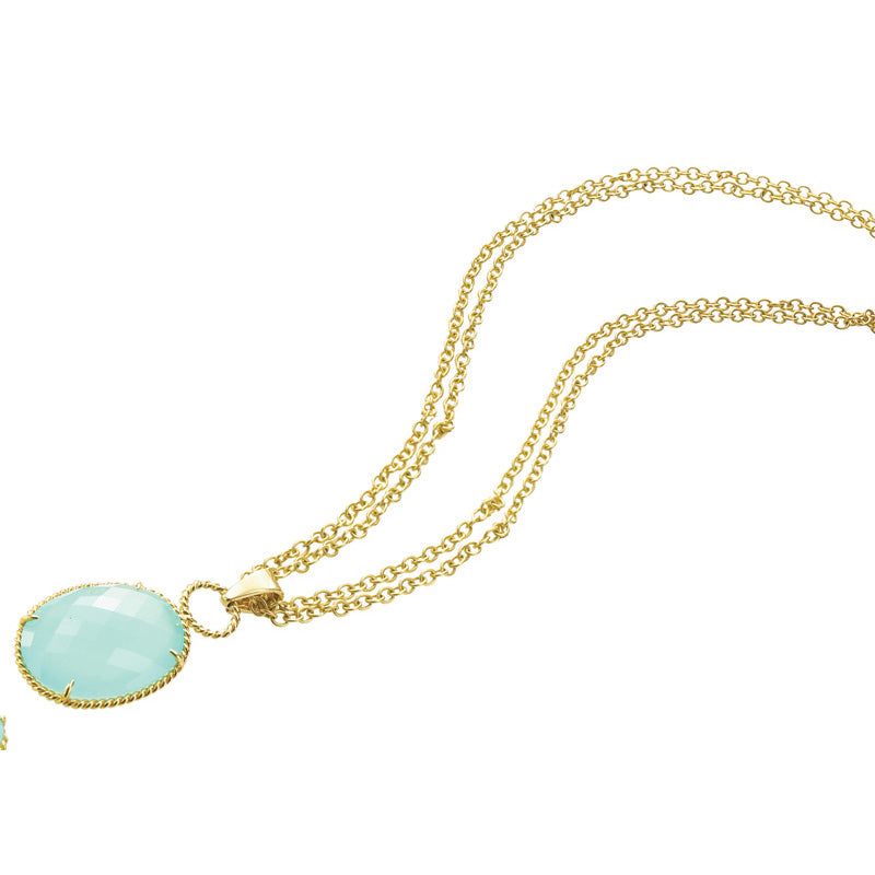Yellow Gold and Green Chalcedony Pendant