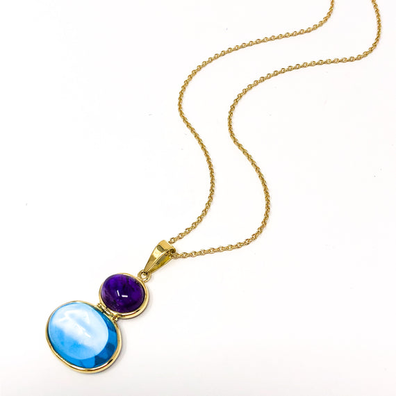 18kt Gold Amethyst and Blue Topaz Pendant