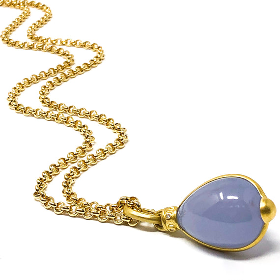 Yellow Gold & Blue Chalcedony Egg Pendant