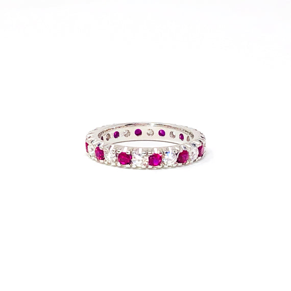 18kt White Gold Ruby and Diamond Band