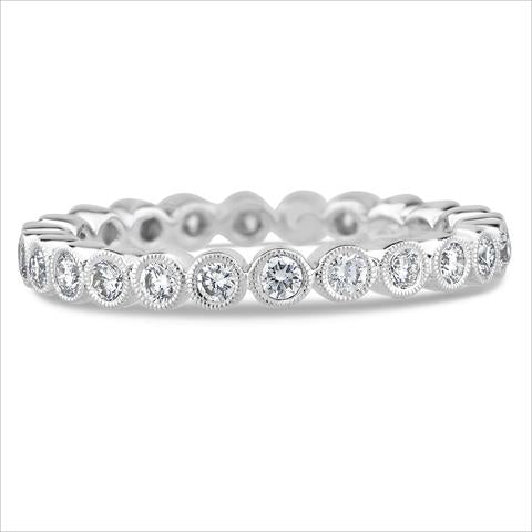 Platinum and Bezel Set Diamond Eternity Band