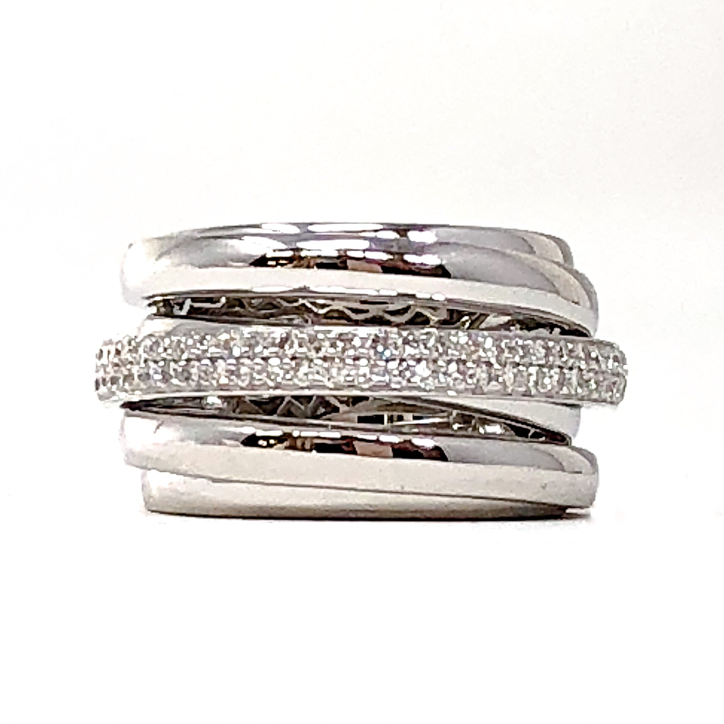 White Gold and Diamond 6-Band Ring