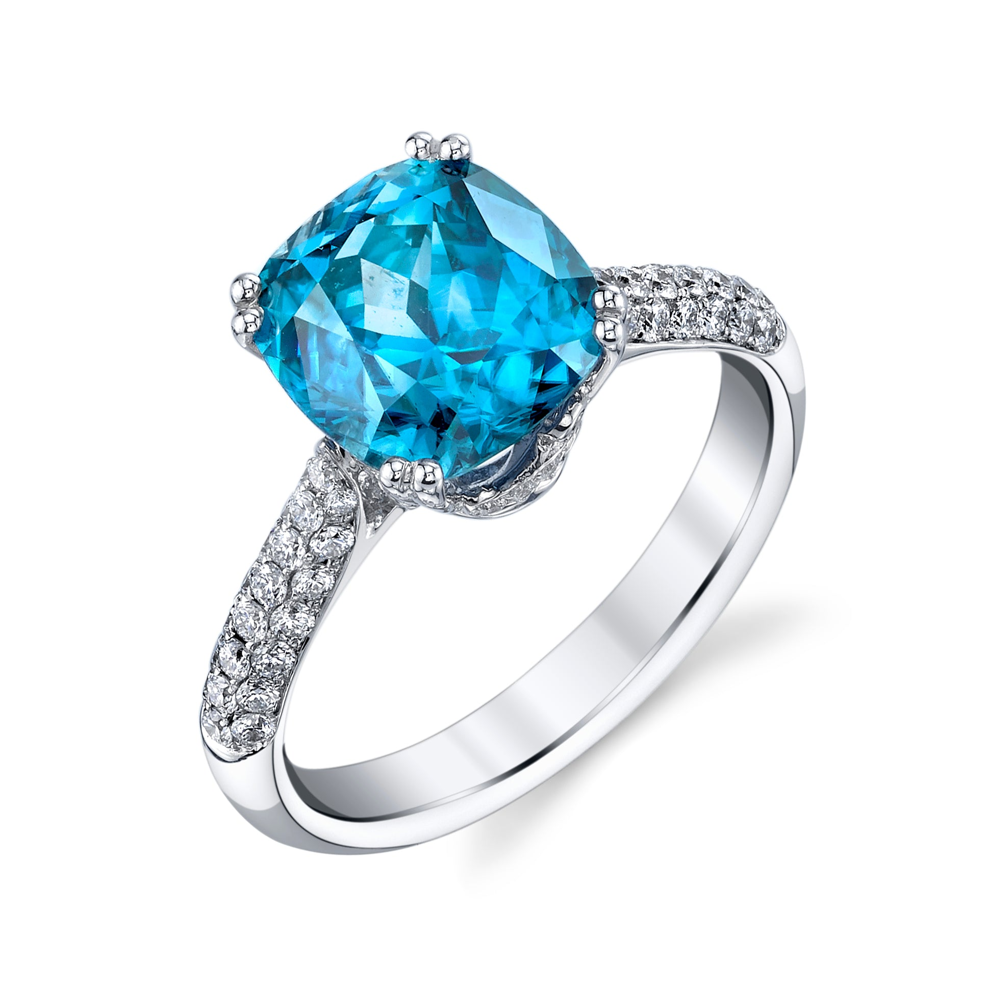 Blue Zircon and Diamond Pave Ring