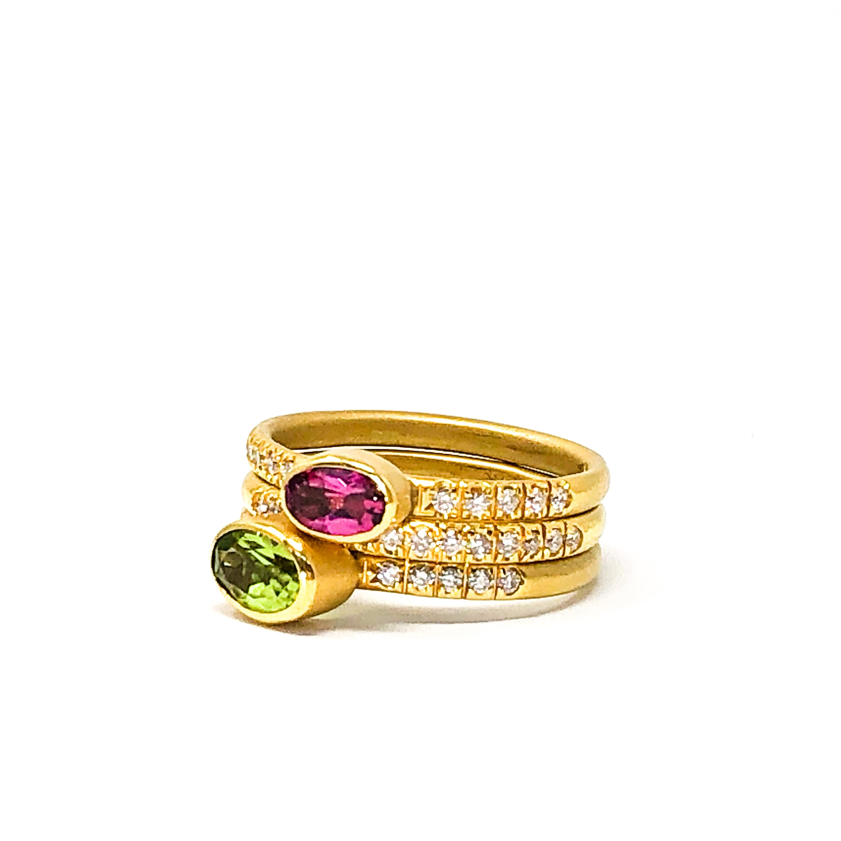 Yellow Gold, Gemstone and Diamond Stacking Bands