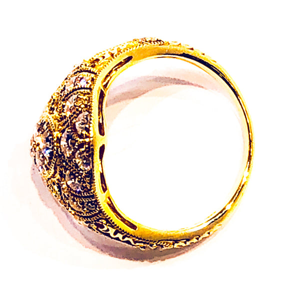 18kt Yellow Gold and Diamond Pave Ring