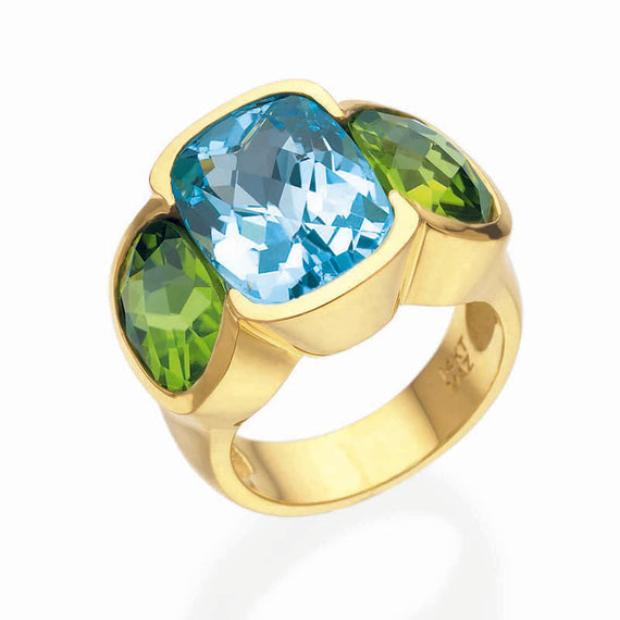Blue Topaz and Peridot Ring