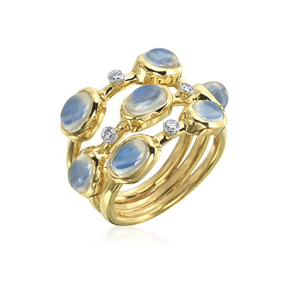 Yellow Gold Ring with Moonstone and Diamonds