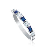 Platinum Blue Sapphire and Diamond Ring