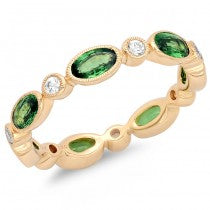 Yellow Gold Tsavorite and White Sapphire Eternity Band