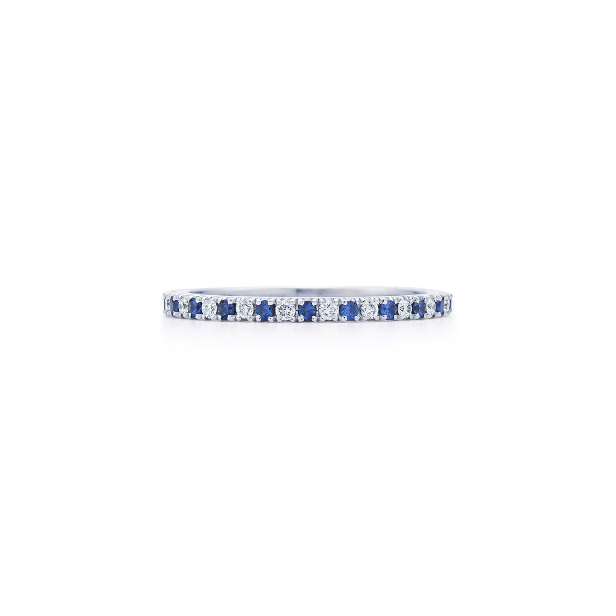 18k White Gold Diamond and Blue Sapphire Eternity Band