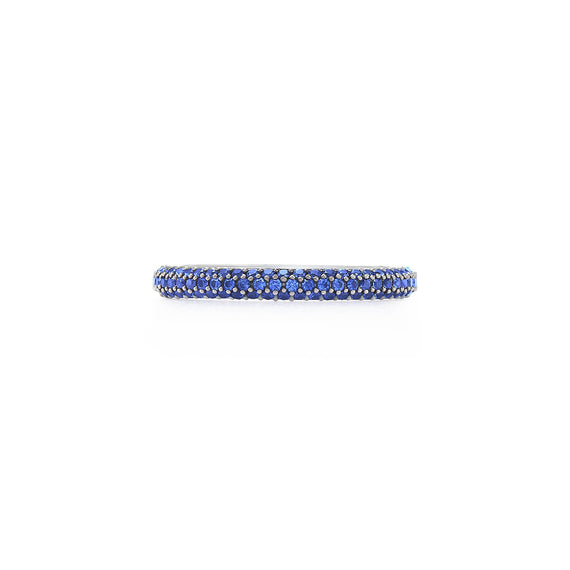 18k White Gold Kwiat Moonlight Wedding Band with Blue Sapphires