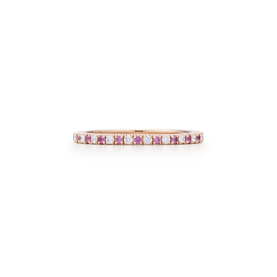 18k Rose Gold Diamond and Pink Sapphire Eternity Band