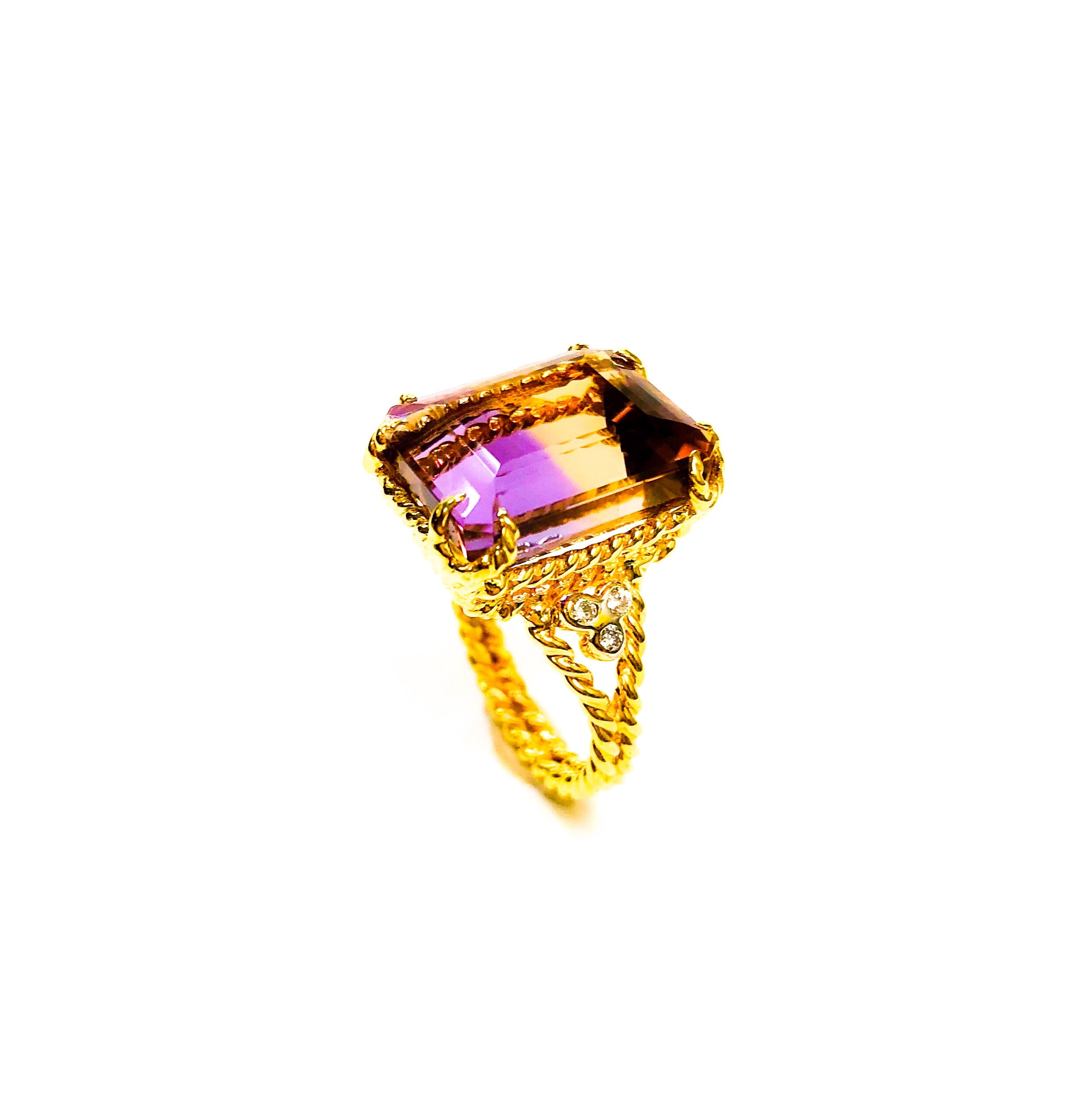 18kt Gold Ametrine and Diamond Ring
