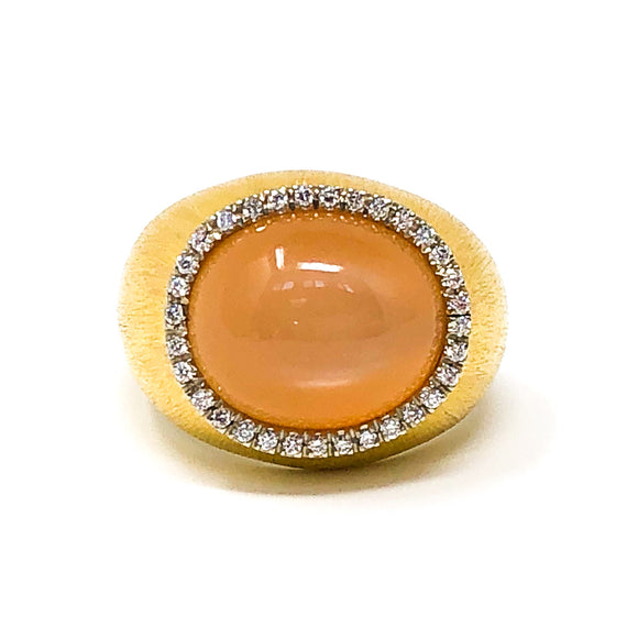 Orange Moonstone and Diamond Ring