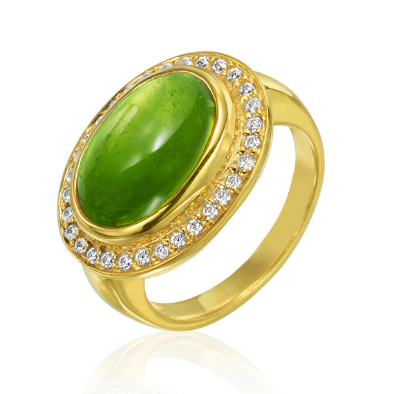 Yellow Gold Ring with Peridot and Diamonds