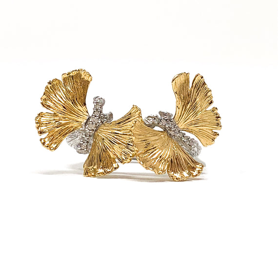 18kt Gold and Sterling Butterfly Ring