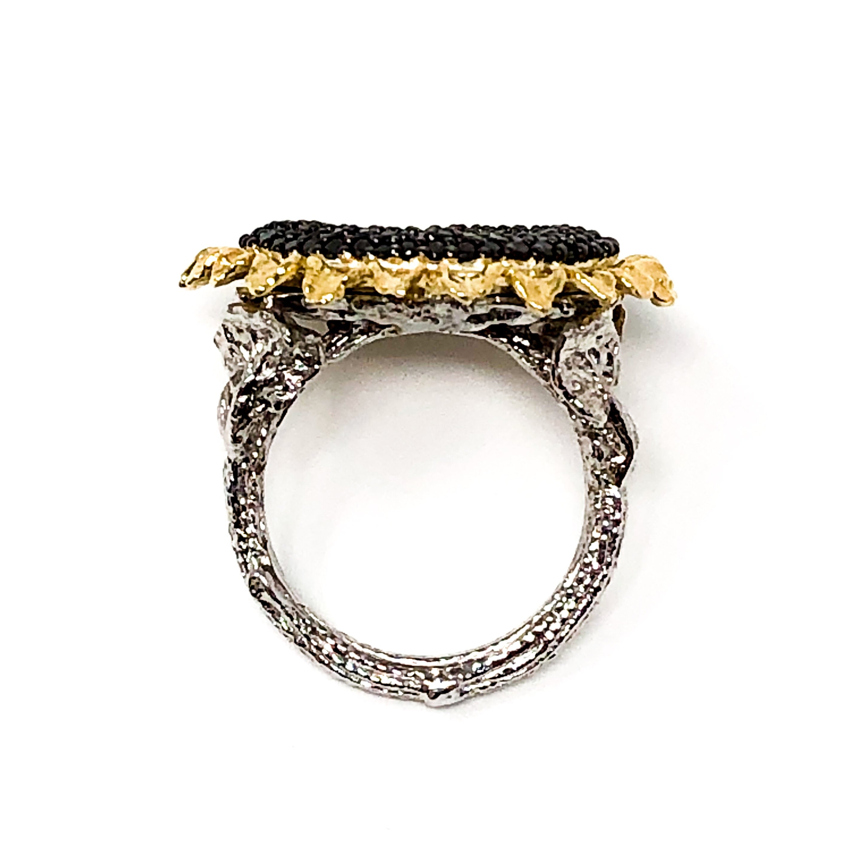 Black Diamond Sunflower Ring