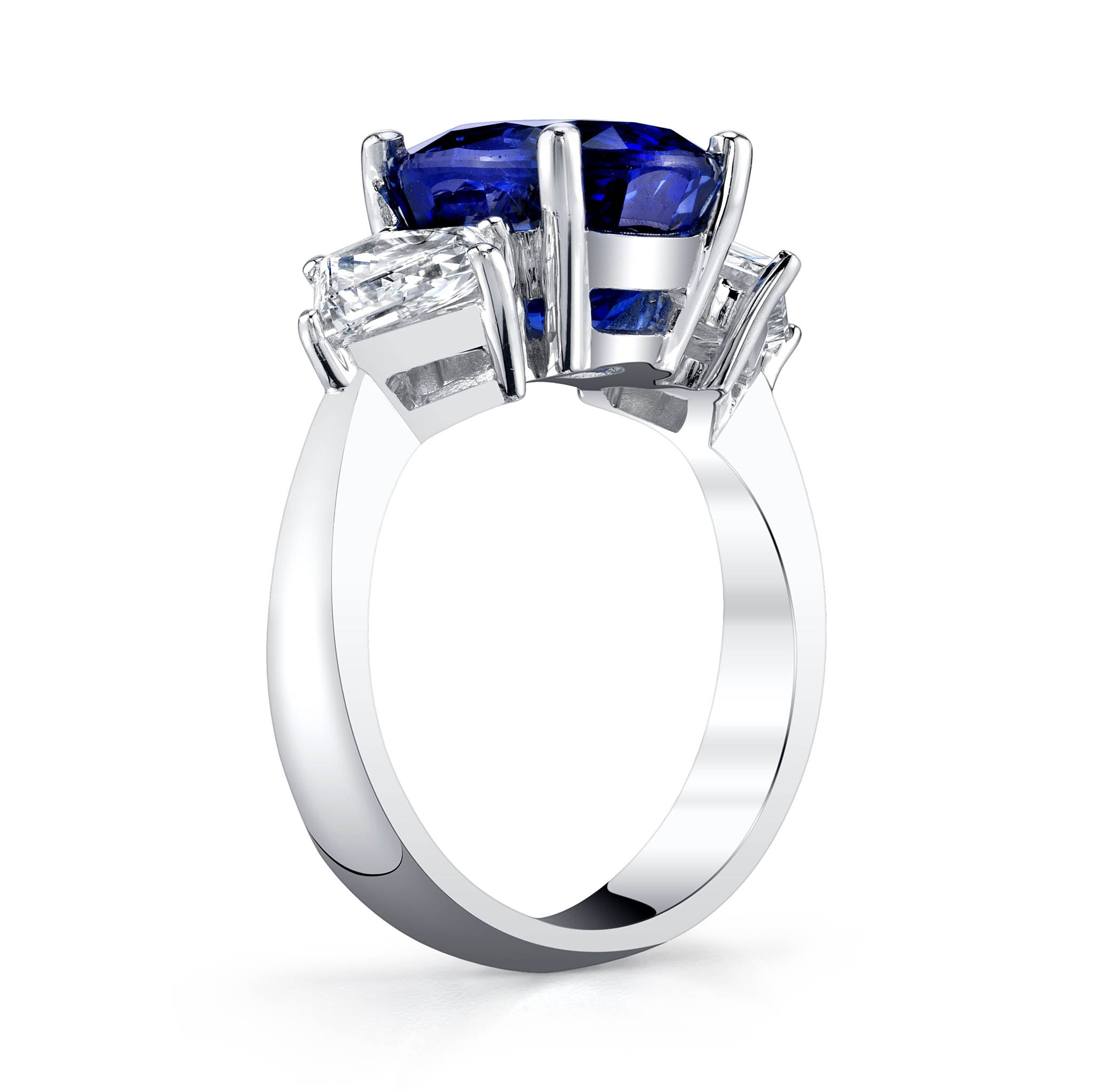 Blue Sapphire and Diamond Three-stone Ring