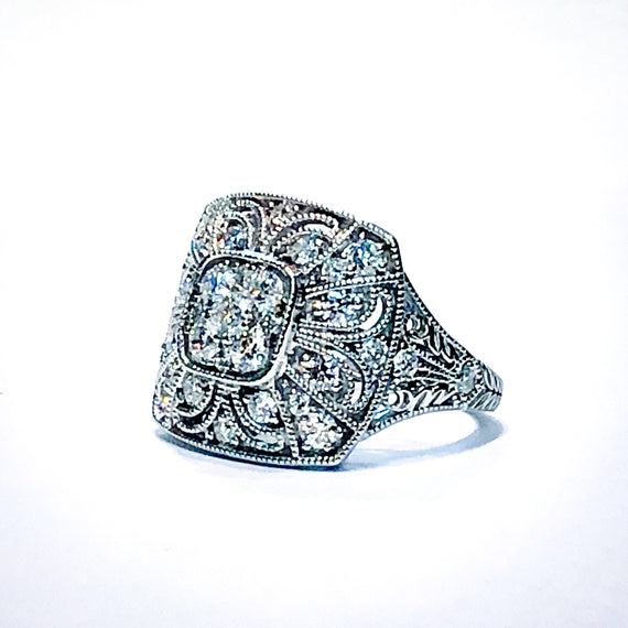 18kt White Gold and Diamond Pave Ring