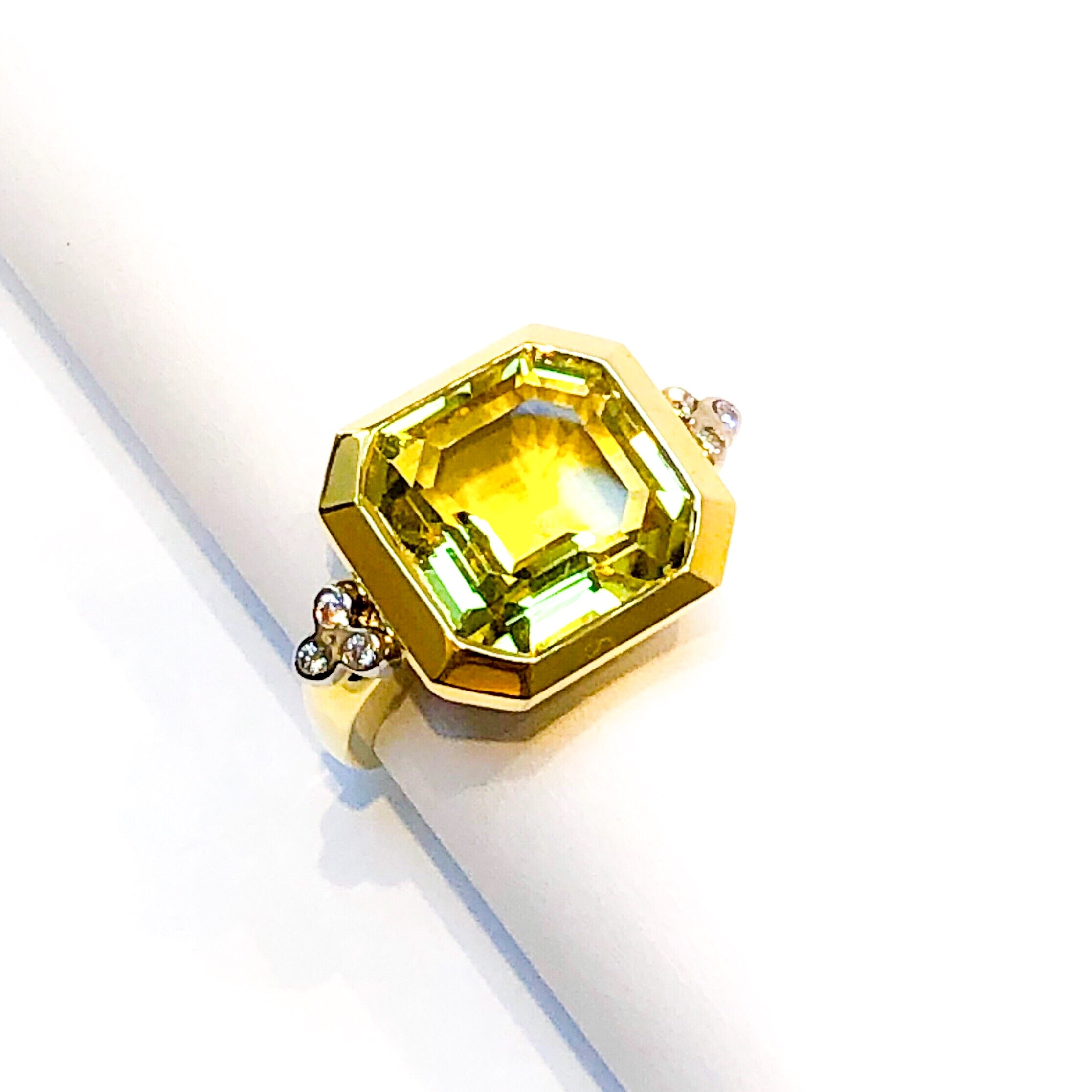 Yellow Gold and Lemon Citrine Ring