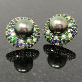 18kt Tahitian Pearl, Tsavorite, and Blue Sapphire Earrings