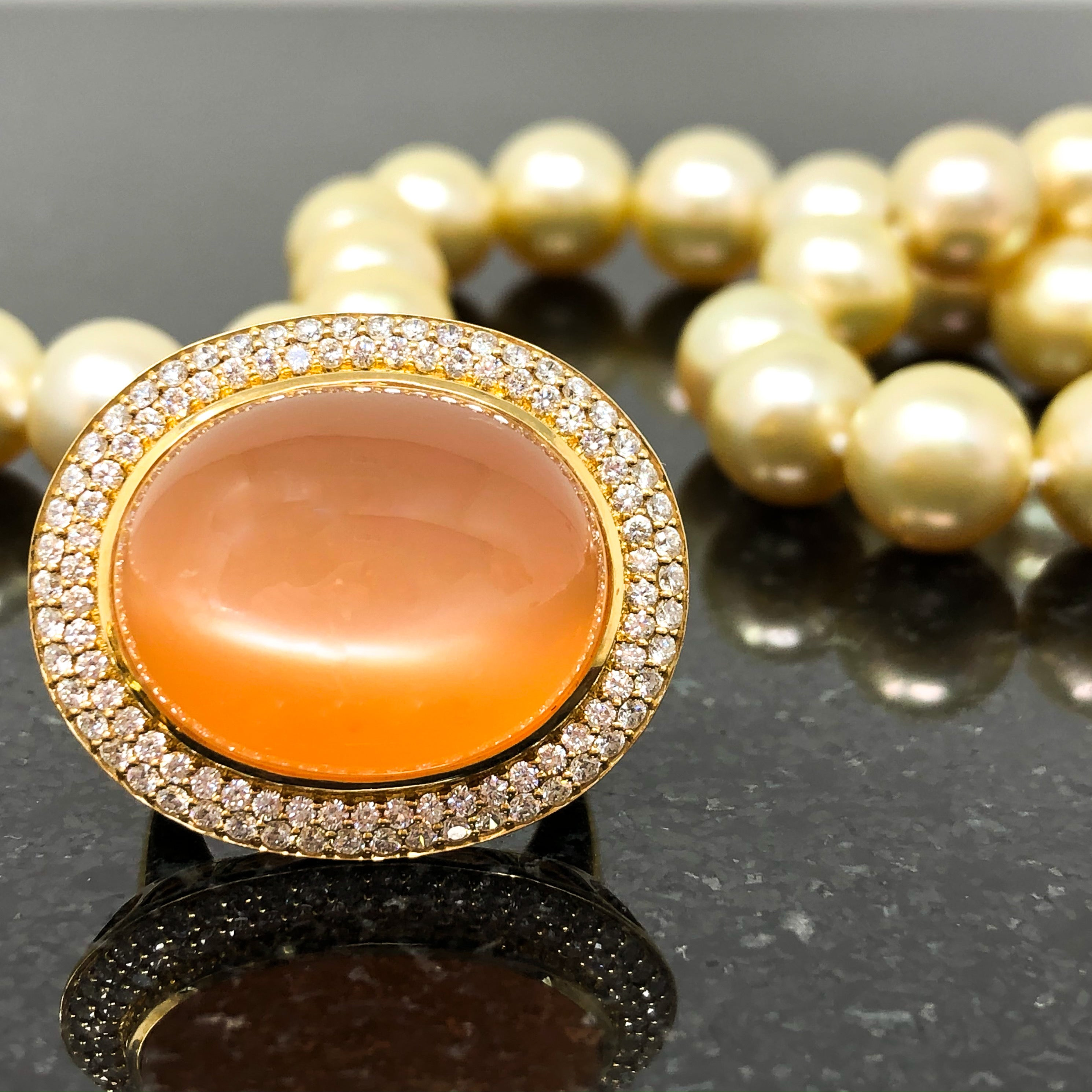 18kt Orange Moonstone and Diamond Ring