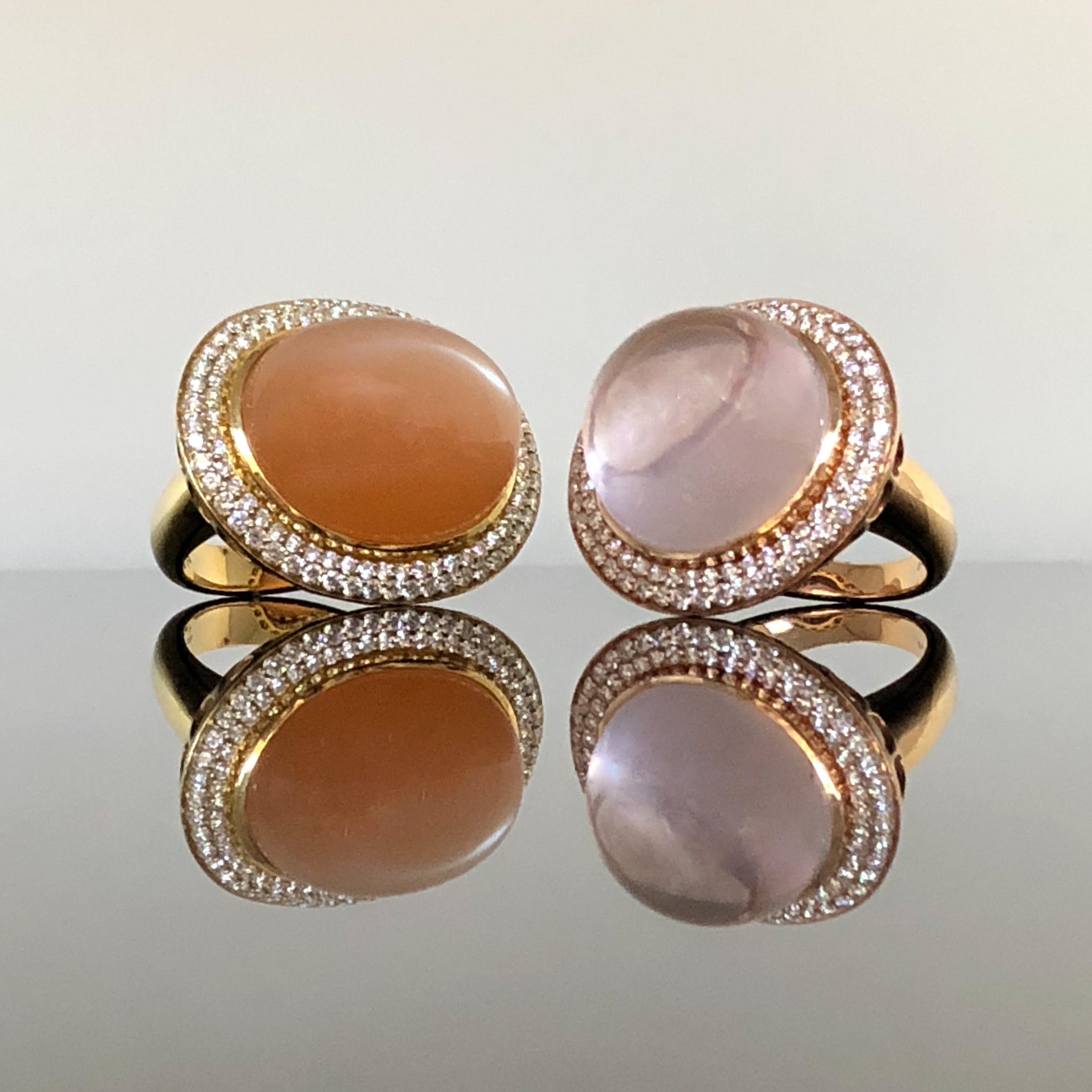 18kt Rose Quartz and Diamond Ring