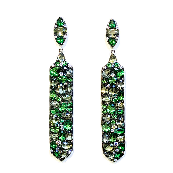 18kt Tsavorite, Green Sapphire & Diamond Earrings