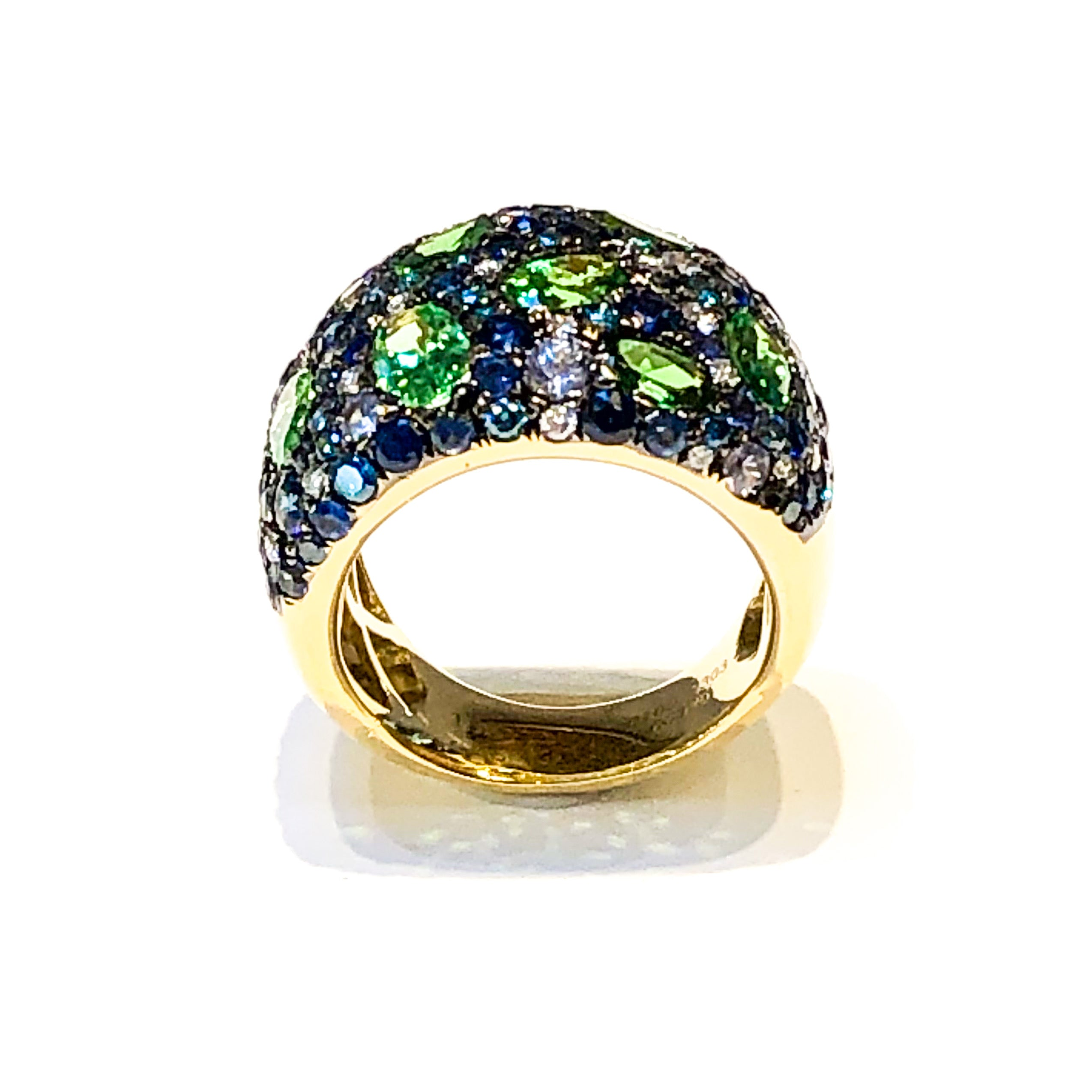 18kt Tsavorite, Blue Sapphire, and Diamond Ring
