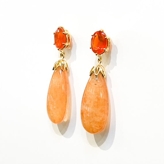 Fire Opal and Peach Moonstone Earrings