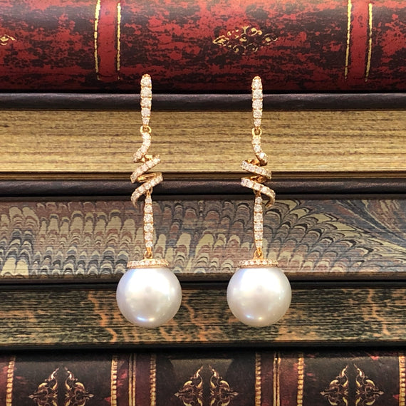 18kt Rose Gold, Diamond & South Sea Pearl Earrings