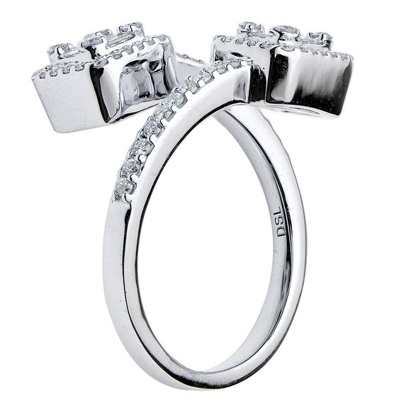 18k White Gold and Diamond Bypass Ring
