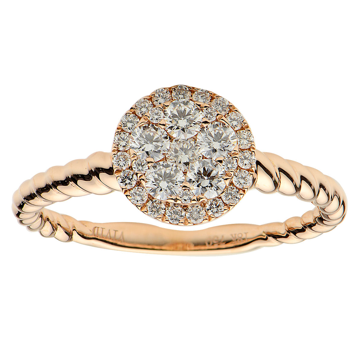18k Rose Gold and Diamond Cluster Ring