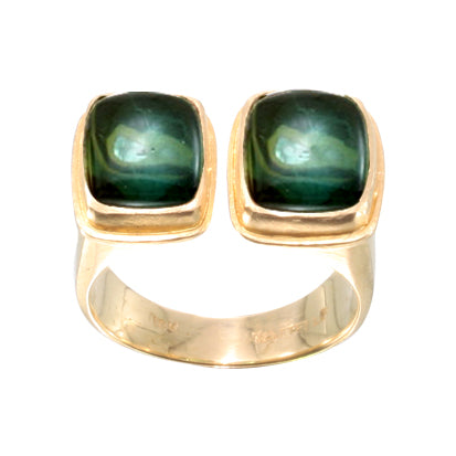 Double Green Tourmaline Cabochon Ring
