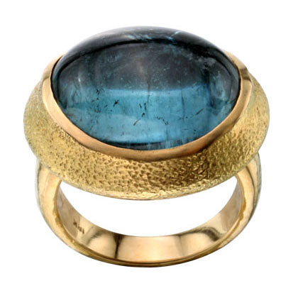 18kt Yellow Gold and Blue Tourmaline Ring
