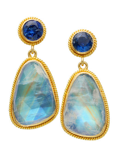 18kt Yellow Gold Blue Moonstone and Kyanite Earrings