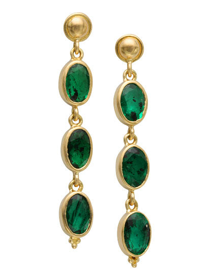 18kt Yellow Gold and Emerald Earrings