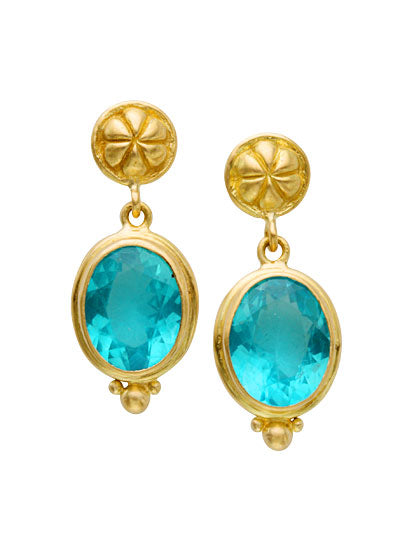 18kt Yellow Gold and Apatite Earrings