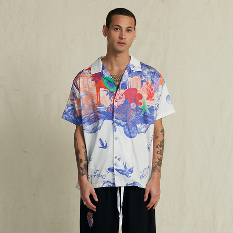 ANIMAL KINGDOM WHITE HAWAIIAN SHIRT