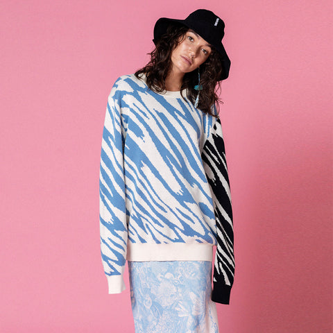 PARTY ANIMAL BLUE COMBO CREW KNIT