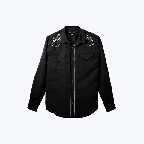 BLACK LONG SLEEVE WEST WORLD SHIRT