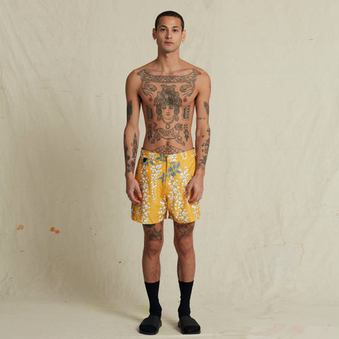 OVER THE FALLS TURMERIC POOL SHARK SWIM SHORT