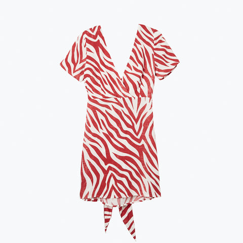 POOL SHARK RED TIE BACK DRESS